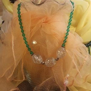 """Vintage 16"""" green glass beads"""
